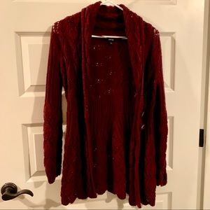 Maroon Red Double Button Knit Cardigan